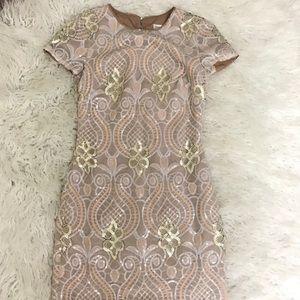 dress the population Mini Sequin Dress Nude Size S